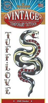 Snake Tattoo Designs (1940 Snake Tuff Love Design Vintage Type Temporary)