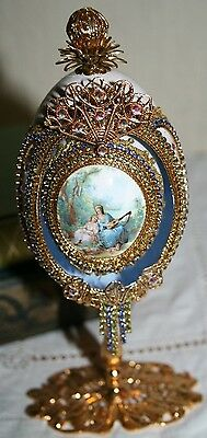 Vintage Fine Decorated Duck Egg Diamante Gold French Style Portrait Eggs