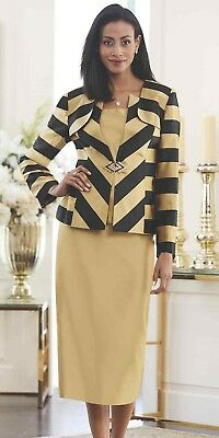 Ashro Black Gold Formal Dress Wedding Party Samantha Stripe Skirt Suit 8 14