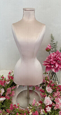 Pale Pink Bust Form Necklace Jewelry Display Stand Holder Satin 21.5 Tall