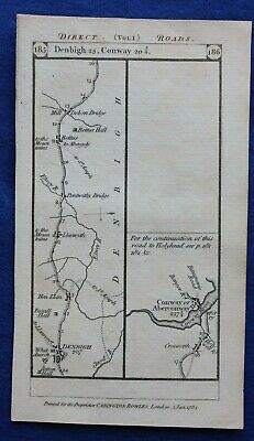 Original antique road map DENBIGH, ABERCONWY, Paterson, 1785