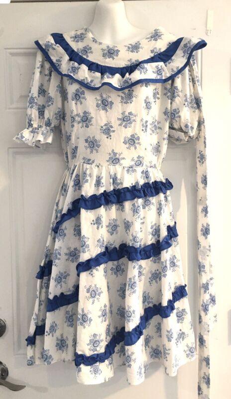 Vintage Floral Blue Square Dancing Dress Jeri Bee Circle  Skirt Prairie Size 14