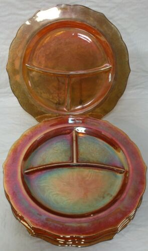5 Vintage Federal Normandie Marigold Carnival Glass Divided Dinner Plates GC