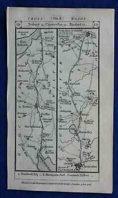 Original antique road map TETBURY, CIRENCESTER, BATH, WARMINSTER, Paterson, 1785
