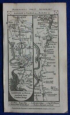 Original antique road map SURREY, KENT, ROCHESTER, CANTERBURY, Paterson, 1785