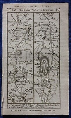 Original antique road map HEREFORDSHIRE, WORCESTER, ROSS ON WYE, Paterson, 1785