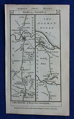 Original antique road map SUFFOLK, NORFOLK, ESSEX, MALDON, Paterson, 1785