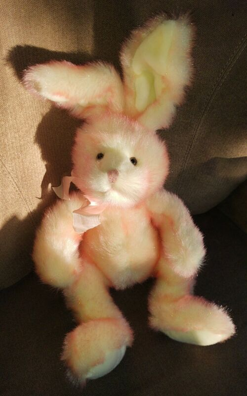 "Russ Berrie Easter Bunny Rabbit Glitters Pink ""Ruffles"" Plush 18"" poseable ears"