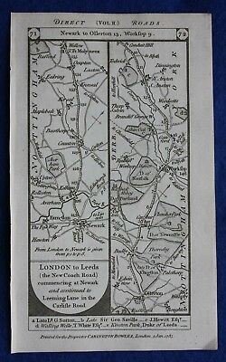 Original antique road map NOTTINGHAMSHIRE, YORKSHIRE, SHEFFIELD, Paterson, 1785