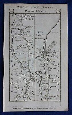 Original antique road map NORFOLK, KINGS LYNN, MIDDLESEX, LONDON, Paterson, 1785