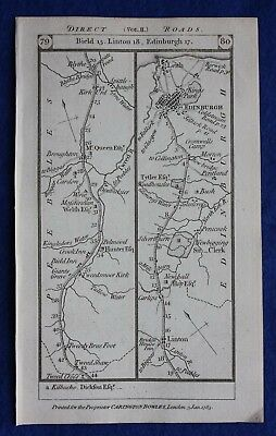 Original antique road map EDINBURGH, PETERBOROUGH, LINCOLNSHIRE, Paterson, 1785