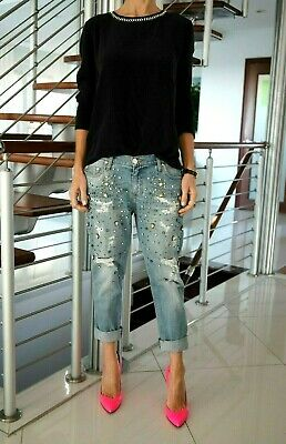 Elisabetta Franchi MADE IN ITALY Jeans Pants Stone Embellished Sz 27