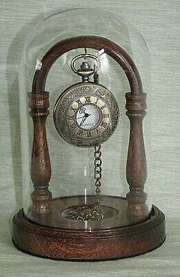 MAHOGANY POCKET WATCH STAND GLASS DISPLAY DOME OTHER HARDWOODS AVAILABLE - Other Glass Stand