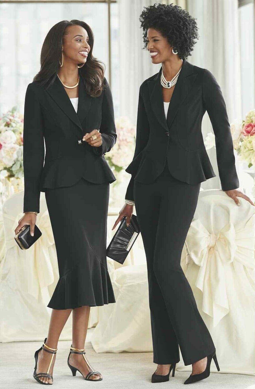 Ashro Denai Wardrober Black Pant Skirt Suit 6 8 10 14 16 16W 18W 20W 22W 24W 26W