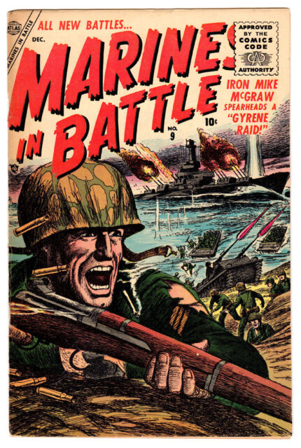 MARINES IN BATTLE #9 3.0 CREAM/OFF-WHITE PAGES GOLDEN AGE ATLAS WAR