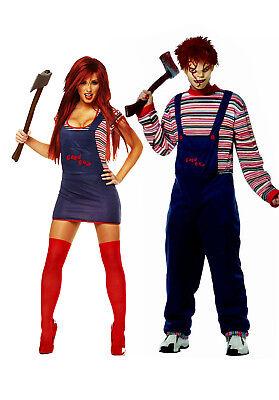 Mens Womens Chucky Costumes 2PC Chucky Couple Halloween Fancy Dress Costumes