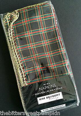KIM SEYBERT FINE LINENS~TARTAN PLAID~RED & GREEN~SET OF 4 NAPKINS~BRAND NEW! Kim Seybert Servietten