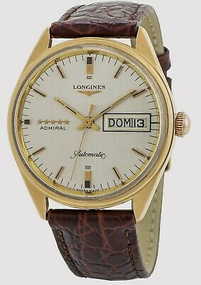 Longines Admiral 18k yellow gold and leather mens watch automatic day date