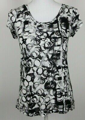 Vera Wang Simply Vera Top Small Black White Abstract Circles Short Sleeve -