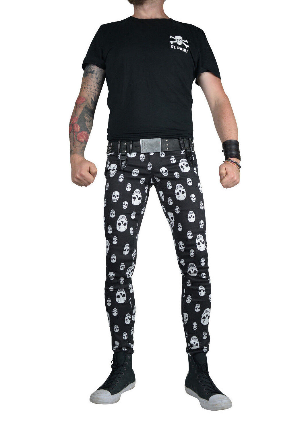 TRIPP TOXIC SKULL ANARCHY SKINNY JEANS ROCKSTAR UNISEX FIT PUNK ROCK SLIM PANTS Clothing, Shoes & Accessories