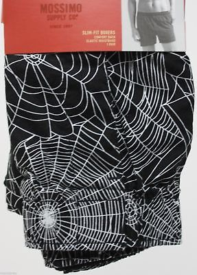 Mossimo Mens Halloween Spider Web Slim Fit Black Boxer Size Large 36-38 NWT