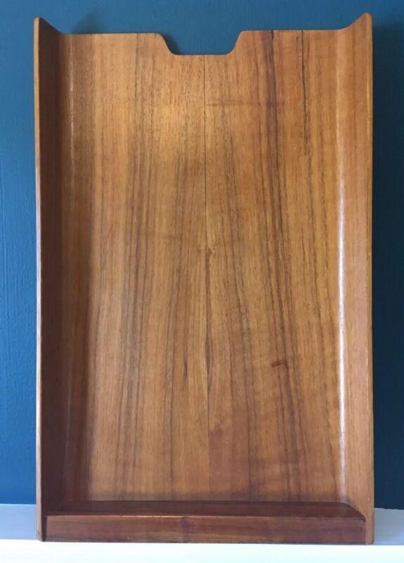 Vintage Sweden Mid century rainbow wood products teak paper tray Office Decor