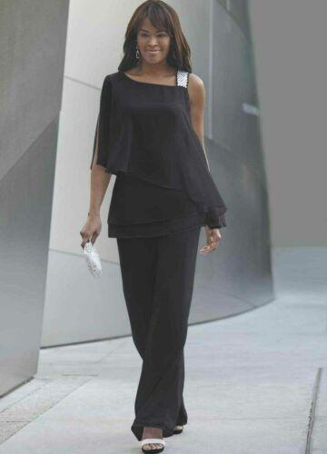 Size 14 Ashro Black Formal Wedding Party Rhinestone Embellished Elle Pant Suit