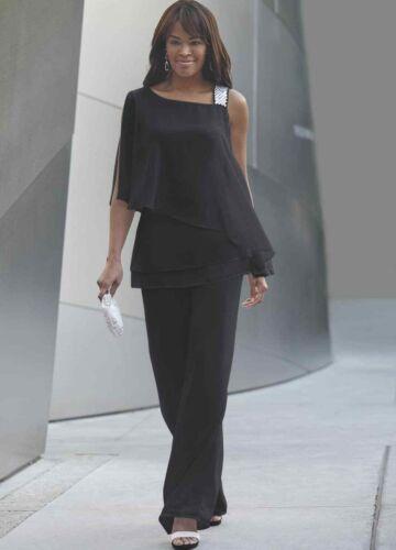 Ashro Black Formal Rhinestone Embellished Elle Pant Suit 6 8 10 12 14 22W 24W 26