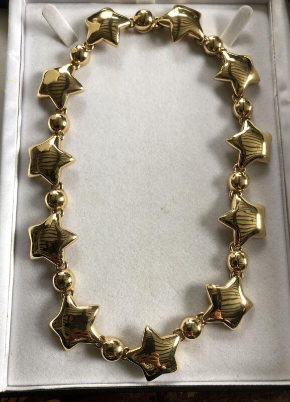 Vintage Signed Gold Tone Stars Necklace