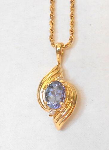 "Gorgeous 7x5mm Tanzanite & Double Diamond 14K Yellow Gold Pendant 18"" Necklace"