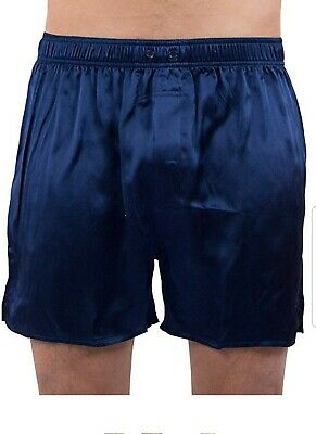 NWT Intimo Full Cut Silk Boxers Navy Blue L