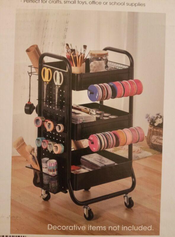 @@3 Tier Metal Rolling Cart Organizer Storage Arts Crafts Wrapping Bar Cart Food