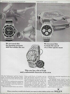1966 Rolex Daytona Submariner Datejust Watch Scuba Ford GT40 Vintage Print Ad