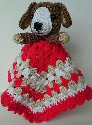 HANDMADE CROCHET BABY DOG RED,BEIGE AND WHITE COMFORTER BLANKET 28cm x 28 cm