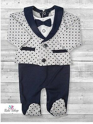 Baby Boy All-in-One Suit Wedding Christening Formal Party Smart Outfit Tuxedo  (Boys In Tuxedo)
