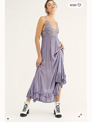 LARGE Free People Adella Crochet Lace Maxi Slip Dress SLATE NEW NO TAG $128
