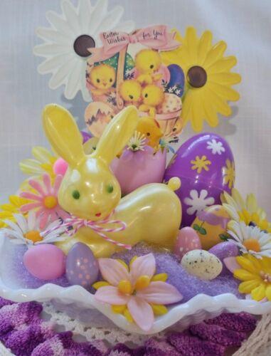 Vintage FLOWER POWER Easter Decoration OOAK Bunny Rattle Flocked Chick Hobnail