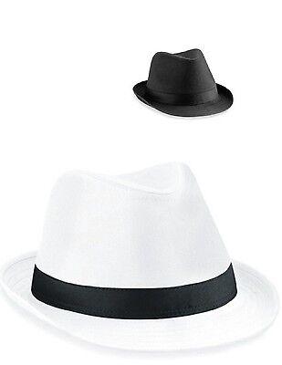 BEECHFIELD - Fedora Hut schwarz od. weiß Casablanca - Weißer Fedora Hut