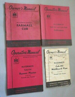 Ih Original Lot - Farmall Cub Tractor Planter Cultivator Plow Manuals