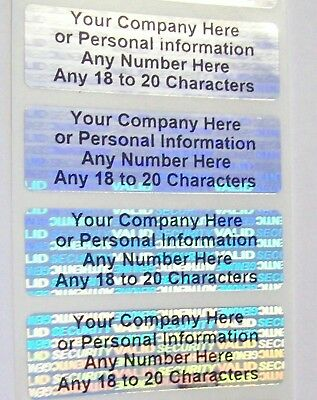 100 Svag Hologram .625 X 2 Custom Print Warranty Security Label Sticker Seals