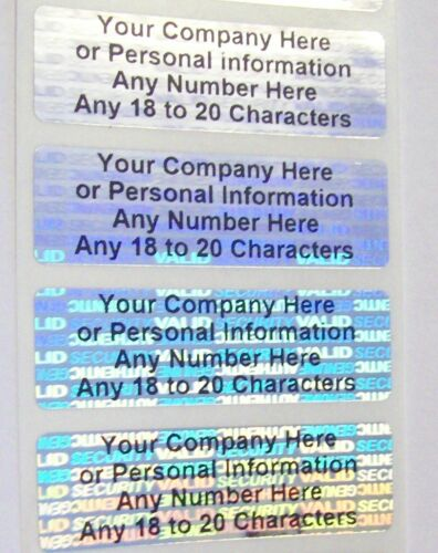 "SV625c 100 SVAG Hologram .625"" x 2"" CUSTOM Print Warranty Security Stickers"