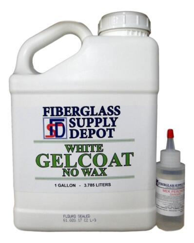 White Gelcoat NO Wax (Gallon) & 2 oz MEKP Hardener