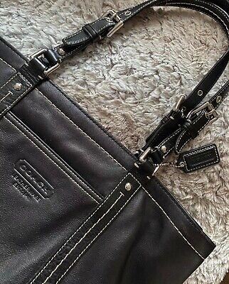 Coach Large Black Leather Zipper Tote Bag