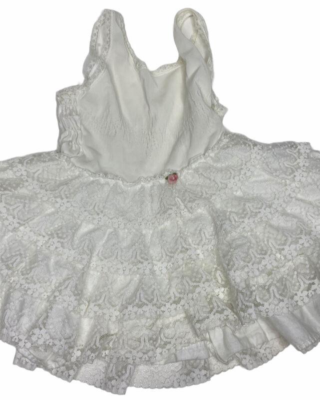 Vintage Baby Girl Her Majesty White Nylon Lace Ruffle Slip Dress Size T-3