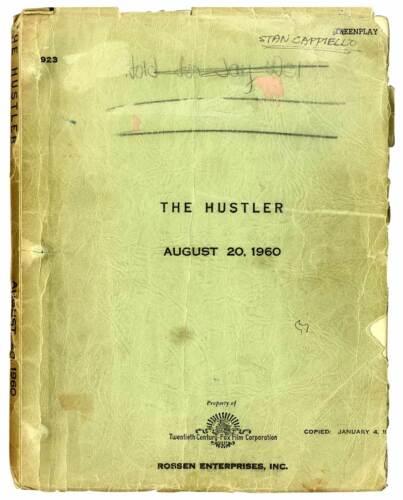 HUSTLER, THE (1961) Vintage original script by Robert Rossen dated Aug 20, 1960