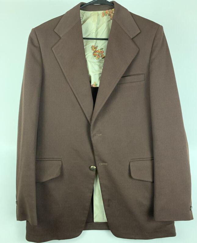 vintage Retro mens Brown Western Blazer sport coat cowboy Polyester
