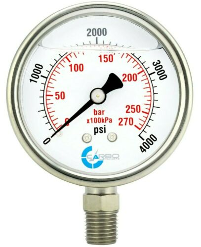 "2-1/2"" Pressure Gauge, ALL STAINLESS STEEL, Liquid Filled, Lower Mnt, 4000 Psi"