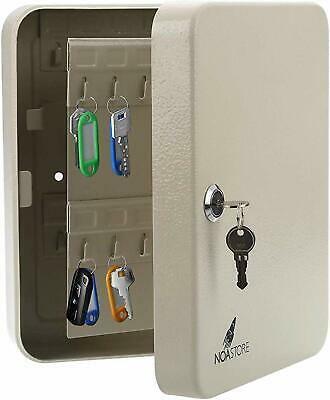 48 Hook Key Holder Box Metal Safe Wtag Case Wall Mount Home Lock Storage Gray