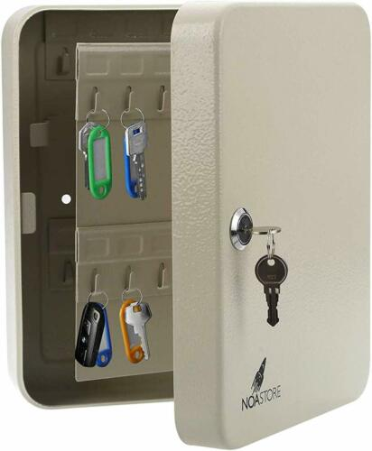 48 Hook Key Holder Box Metal Safe w/Tag Case Wall Mount Home Lock Storage Gray