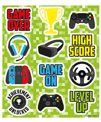 6 Gamer Sticker Sheets - Pinata Toy Loot/Party Bag Fillers Kids Xbox Playstation - Xbox Party Supplies